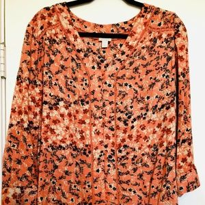 Nordstrom Hinge Orange Floral Blouse w/Lace Detail